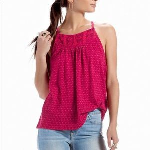 Lucky Brand - Womens Pink Lace Halter Tank top L